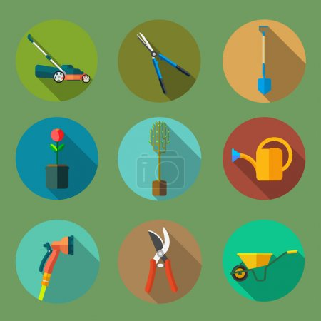 Set of garden tools flat icons