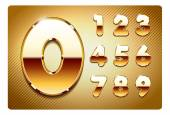 set of gold metal numbers