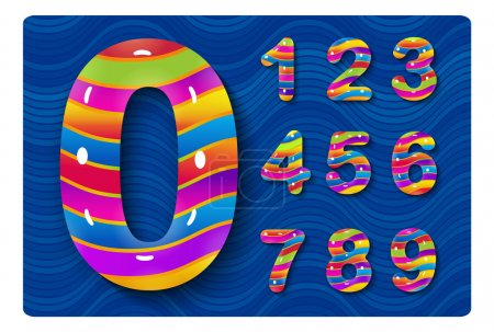 Set of glossy multicolored numbers