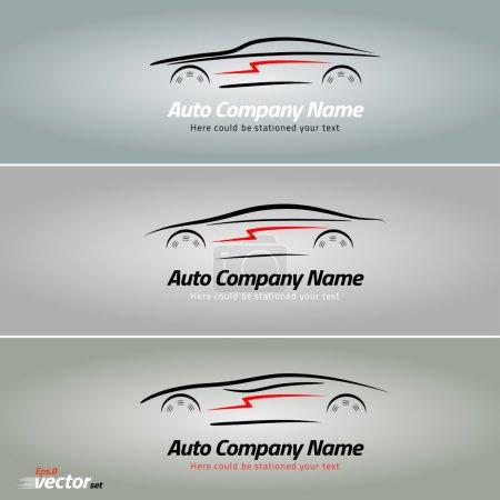 Illustration pour Voitures en forme de lignes de silhouette, en mouvement. Conception de logo de voiture. EPS 8 - image libre de droit