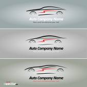 Cars in the form of lines of silhouette in movement Car logo design eps 8