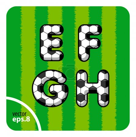 Football letters E, F, G, H
