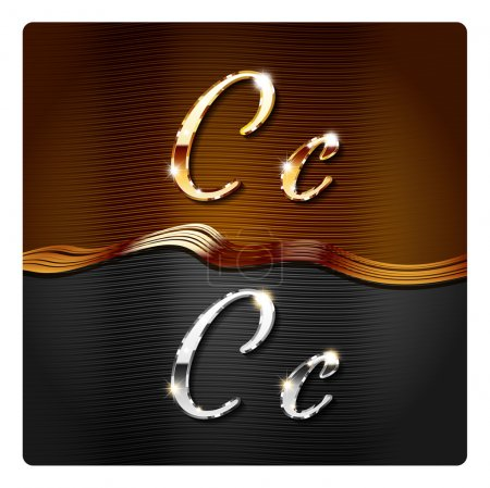 Golden stylish italic letters C