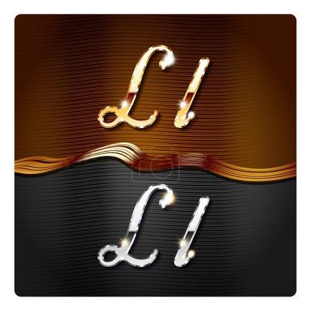 Golden stylish italic letters L