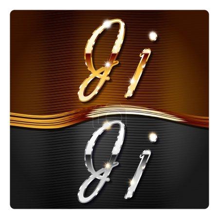 Golden stylish italic letters J