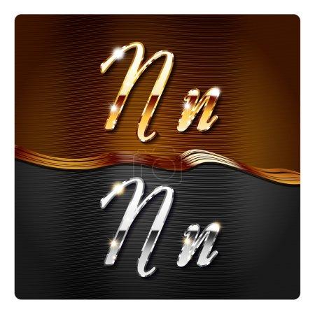 Golden stylish italic letters N