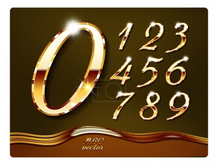 Illustration for Golden stylish digits, with shadow and reflections. Set. Zero 0 One 1 Two 2 Three 3 Four 4 Five 5 Six 6 Seven 7 eight 8 nine 9. vector . The rest of italic letters of the alphabet in my portfolio. - Royalty Free Image