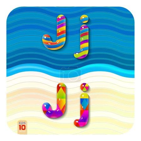 "multicolored letters ""J"""