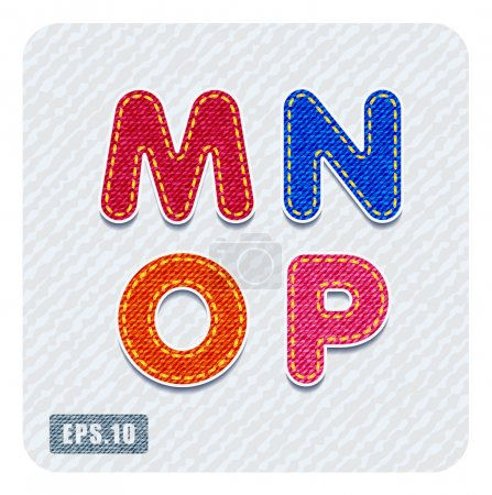 Joyful 3d colorful denim uppercase letters. The le...