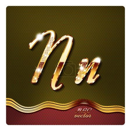 """gold cursive letters """"N"""""""