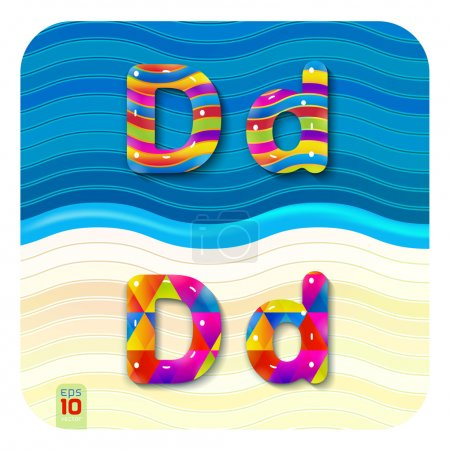 Multicolored letters D