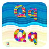 Multicolored letters Q