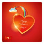 Valentines Day card with Red Heart