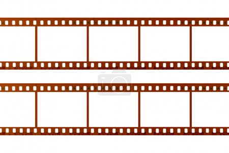Two strips of 35mm film isolated on white background