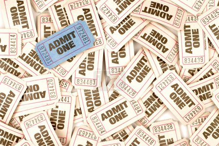 Admit one cinema tickets background with one unique blue ticket