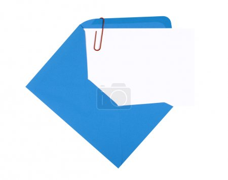 Blank birthday invitation card with blue envelope and red paperc