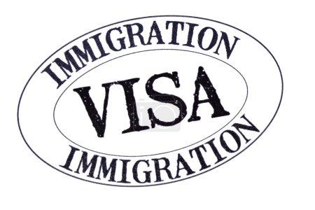 Photo pour Passeport visa d'immigration timbre isolé sur fond blanc, gros plan - image libre de droit