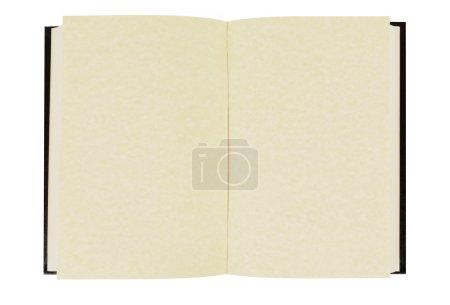 Photo pour Ancien livre à dos rigide vierge avec des pages de parchemin fanées isolées sur un fond blanc. Espace pour la copie . - image libre de droit