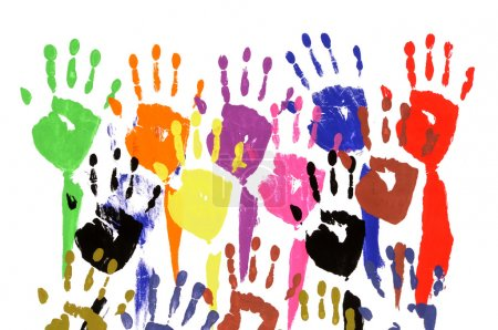Photo for Classroom concept pattern of child handprints made from vivid acrylic paint isolated on a white paper background. - Royalty Free Image