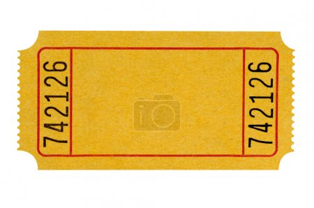Photo pour Billet de théâtre jaune blanc isolé sur fond blanc. - image libre de droit