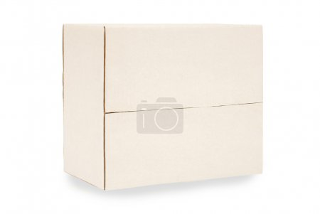 Photo for Closed plain white blank cardboard box isolated on white with shadow.  Space for copy. - Royalty Free Image