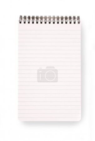 Photo for Spiral bound notepad with lined paper isolated on a white background with shadow. - Royalty Free Image
