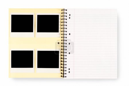 Photo for Photo album with several blank instant camera photo prints and empty page isolated on a white background.  Space for copy. - Royalty Free Image