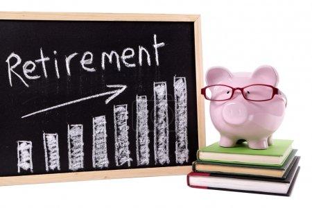 Piggy Bank with retirement savings chart