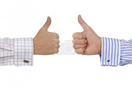 Photo for Two businessmen giving thumbs up signs. - Royalty Free Image