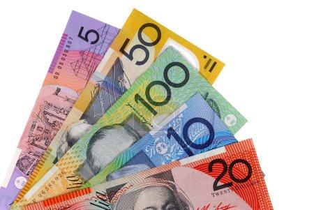 Australian dollar bills isolated on white