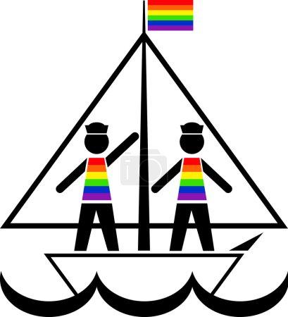 Sailors in rainbow vests