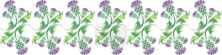 Vector horizontal ornament with flowers of thistle...