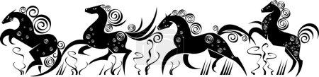 Photo pour Silhouettes amusantes stylisées isolées de chevaux de course - image libre de droit