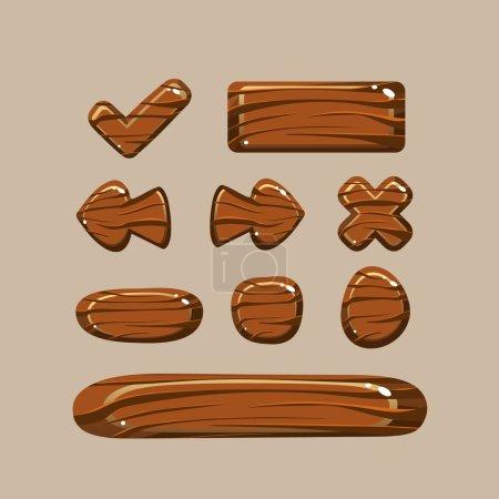 Set of Cartoon Wooden Buttons