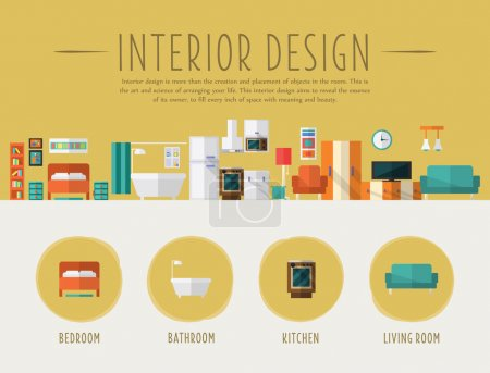 Illustration for Interior Design. Flat Style Vector Illustration. Design for the web site, first page - Royalty Free Image