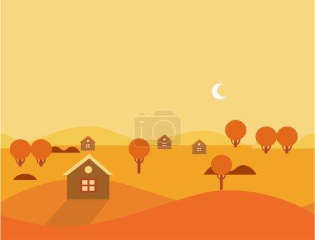 Orange Seamless Cartoon Nature Landscape