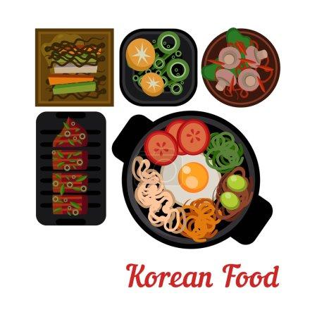 Illustration pour Illustration alimentaire Illustration vectorielle alimentaire coréenne. Plats dans les assiettes vue du dessus - image libre de droit