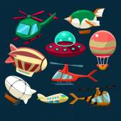 Aviation Airplanes Space Shuttles Hot Air Balloons Set