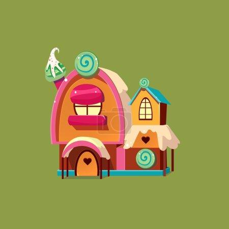 Illustration pour Jolie maison de bonbons. Maison de pain d'épice Illustartion vectorielle colorée - image libre de droit
