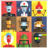 Cartoon Robots Of Different Professions  Isolated On Colorful Backgrounds In Childish Weird Vector Design Illustration