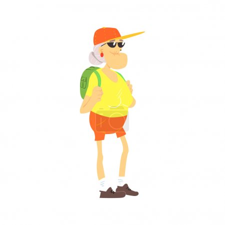 Illustration for Old Lady With Backpack Cute Cartoon Style Isolated Flat Vector Illustration On White Background - Royalty Free Image