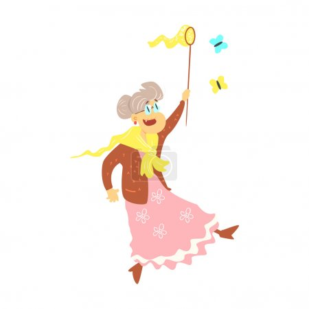 Illustration for Old Lady Catching Butterflies Cute Cartoon Style Isolated Flat Vector Illustration On White Background - Royalty Free Image