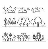 Trees, Flower And Sky Countour  Black White Set