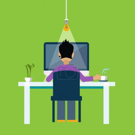 Illustration for Man Behind the DeskWorking Freelance Flat Vector Illustration In Bright Colorful Simplified Infographic Style - Royalty Free Image