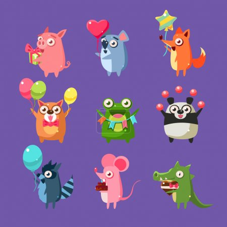 Photo pour Animaux à la fête d'anniversaire Set de couleurs plates et brillantes dessins animés pour enfants Illustrations vectorielles isolées sur fond violet - image libre de droit