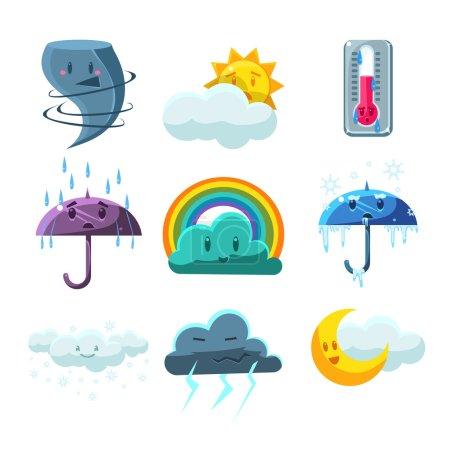 Illustration pour Images de prévisions météorologiques Set de mignon style enfantin lumineux icônes de conception de couleur isolé sur fond blanc - image libre de droit