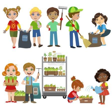 Kids Gardening And Picking Up