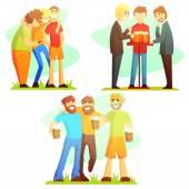 Man Friendship Three Colorful Illustrations
