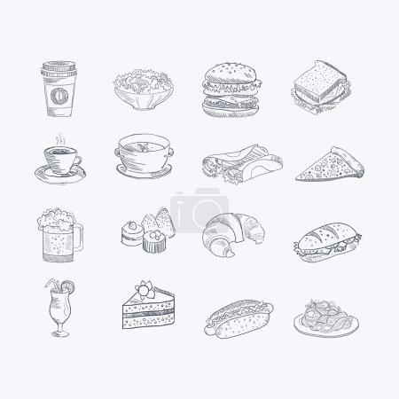 Photo pour Ensemble de croquis artistiques dessinés à la main de nourriture et de boisson d'icônes vectorielles monochromes sur fond blanc - image libre de droit