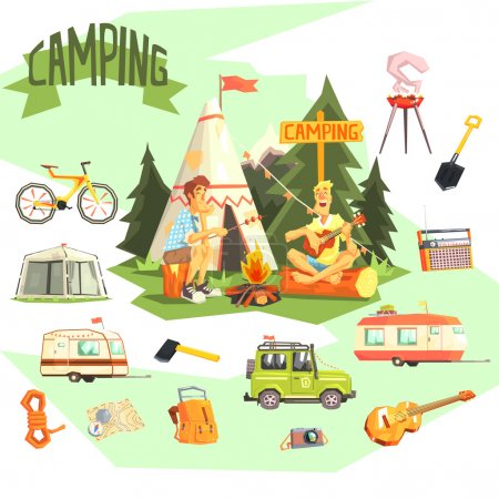 Illustration for Two Guys Enjoying Camping In Forest Surrounded By Related Objects Icons Cool Colorful Vector Illustration In Stylized Geometric Cartoon Design - Royalty Free Image